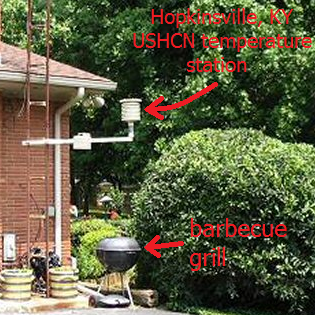 Hopkinsville USHCN temperature station sited above a barbecue grill