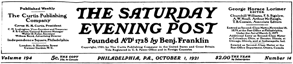 Banner from top of front page of the Oct. 1, 1921 Saturday Evening Post
