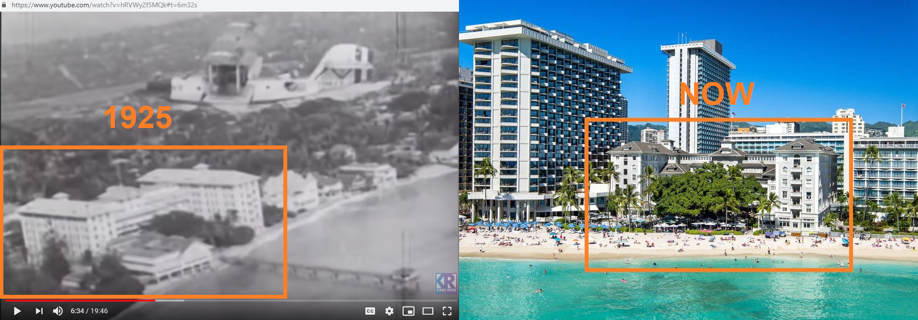Moana Surfrider Hotel in Honolulu, 1925 vs now